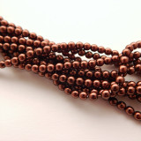 4mm Round Czech Glass Pearl Bronze (120 beads)