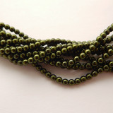 4mm Round Czech Glass Pearl Hunter Green (120 beads)
