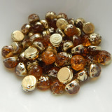 Baroque Cabochon 7mm 2-Hole (25 beads) Backlit Amber Topaz