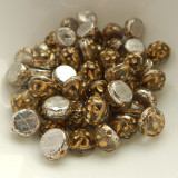 Baroque Cabochon 7mm 2-Hole (25 beads) Backlit Menthol Gold