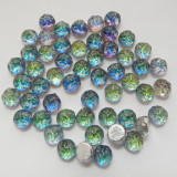 Baroque Cabochon 7mm 2-Hole (25 beads) Backlit Petroleum