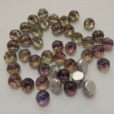 Baroque Cabochon 7mm 2-Hole (25 beads) Backlit Purple Haze
