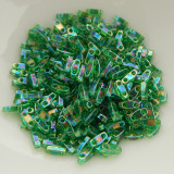 Quarter Tila Two Hole Beads Green AB 5 Grams Miyuki