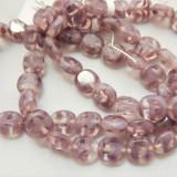 9x10mm Oval Table Cut Light Purple Clear Stripe Czech Glass (20 beads)