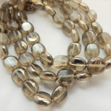 9x10mm Oval Table Cut Gray Luster Czech Glass (20 beads)