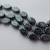 10x14mm Dimpled Oval Pressed Hematite Pressed Czech Glass (10 beads)