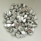 30 Beads - 5x8mm Amos® Par Puca® Two Hole Drop Shape Matte Silver Aluminum Czech Glass