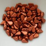 30 Beads - 5x8mm Amos® par Puca® Two Hole Drop Shape Matte Bronze Red Czech Glass Glass