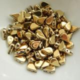 30 Beads - 5x8mm Amos® par Puca® Two Hole Drop Shape Full Dorado Czech Glass