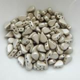 30 Beads - 5x8mm Amos® par Puca® Two Hole Drop Shape Matte Metallic Beige Czech Glass