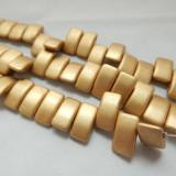 9x17mm 2 Hole Carrier Beads Opaque Pale Gold (15 beads) Czech Glass Beads