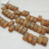 9x17mm 2 Hole Carrier Beads Opaque Matte Travertin (15 beads) Czech Glass Beads