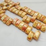 9x17mm 2 Hole Carrier Beads Opaque Chalk Travertin (15 beads) Czech Glass Beads
