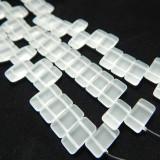 9x17mm 2 Hole Carrier Beads Matte Crystal (15 beads) Czech Glass Beads