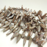 5x17mm Bird Feather Drop Beige Nebula (25 beads) Pressed Czech Glass