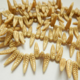 5x17mm Bird Feather Drop Beige Gold (25 beads) Pressed Czech Glass