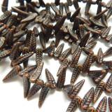 5x17mm Bird Feather Drop Orange Dark Travertin (25 beads) Pressed Czech Glass
