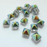 8mm Pyramid (12 beads) Beadstud 2-Hole Crystal Vitrail Czech Glass