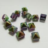 8mm Pyramid Beadstud 2-Hole Magic Orchid Iris (6 beads) Czech Glass