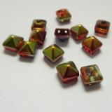 8mm Pyramid Beadstud 2-Hole Magic Ruby (6 beads) Czech Glass