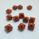 8mm Pyramid Beadstud 2-Hole Matte Copper (6 beads) Czech Glass