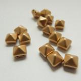 8mm Pyramid (12 beads) Beadstud 2-Hole Matte Gold Czech Glass