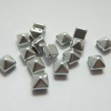8mm Pyramid Beadstud 2-Hole Matte Silver (6 beads) Czech Glass