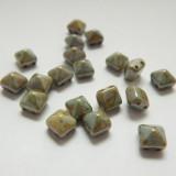 8mm Pyramid Beadstud 2-Hole Patina (6 beads) Czech Glass