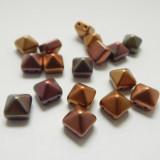 12 Beads - 8mm Pyramid Beadstud 2-Hole Silky Matte Gold Czech Glass