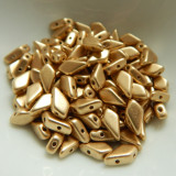 Kite (50 Beads) Bronze Pale Gold 2-Hole Czech Glass 9x5mm