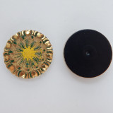 28mm Button Cabochon Green Gold Painted Pressed Czech Glass (1 Piece)