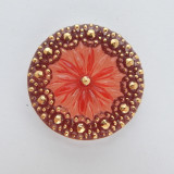 28mm Button Cabochon Gold Mauve Painted Pressed Czech Glass (1 Piece)