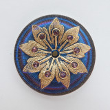 38mm Button Cabochon Gold on Vitrail Pressed Czech Glass (1 Piece)