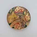 28mm Button Cabochon Birds Red Green Gold Painted Pressed Czech Glass (1 Piece)