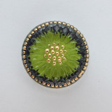 18mm Button Cabochon Sunburst Green Gold Painted Pressed Czech Glass (1 Piece)