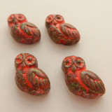 17x15 Owl (4 Beads) Orange Coral Picasso Pressed Czech Glass Flat Back