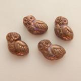 17x15 Owl (4 Beads) Dark Purple Bronze Luster Pressed Czech Glass Flat Back