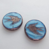 23mm Coin (1 Bead) Blue White Bird Bronze Inlay and Edge Pressed Czech Glass