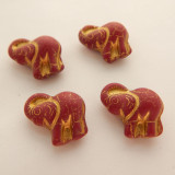 21x20mm Elephant (2 beads) 2-Sided Matte Dark Red Gold Bronze Pressed Czech Glass