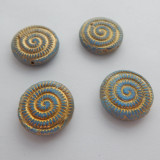 18mm Ammonite Fossil (2 beads) 2-Sided Matte Blue with Gold Bronze Pressed Czech Glass