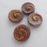 17mm Fossil (4 beads) 2-Sided Light Purple Old Patina Pressed Czech Glass