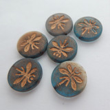 18mm Dragonfly Coin (2 beads) 2-Sided Matte Blue Old Patina Pressed Czech Glass