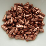 5x8mm Vexolo® (50 Beads) 2-Hole Matte Metallic Bronze Copper Czech Glass