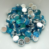 Baroque Cabochon (25 Beads) 7mm 2-Hole Backlit Aquasol Czech Glass
