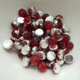 Baroque Cabochon (25 Beads) 7mm 2-Hole Backlit Rubysol Czech Glass