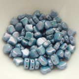 Ginko (35 Beads) Chalk Blue Luster 7.5mm x 7.5mm 2-hole Czech Glass by Matubo