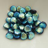 Shelly™ Shells (20 Beads) Jet AB 2x, 8mm 2-hole Czech Glass