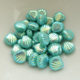 Shelly™ Shells (20 Beads) Green Turquoise AB 2x, 8mm 2-hole Czech Glass