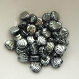 Shelly™ Shells (20 Beads) Jet Blue Sphinx, 8mm 2-hole Czech Glass