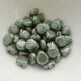 Shelly™ Shells (20 Beads) Green Turquoise Honey Drizzle, 8mm 2-hole Czech Glass